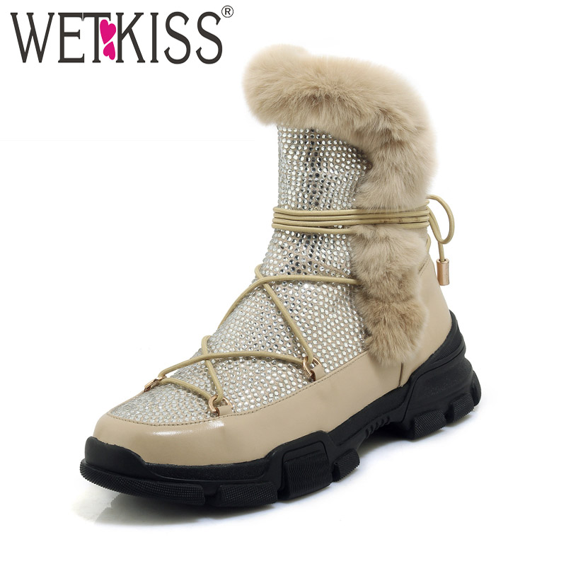 WETKISS Cow Leather Ankle Boots Round Toe Crystal Cross Tied Footwear Fur Platform Female Boots Casual Shoes Woman Winter 2018 wetkiss 2018 genuine leather rabbit fur shoes woman ankle boots zipper wedges winter boots pointed toe platform footwear female