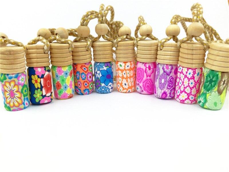 10pcs/lot 5ml Mini Screw Print Perfume Bottle Polymer Clay Empty Small Perfume Refillable Bottle Car Pendant Personalized Gift