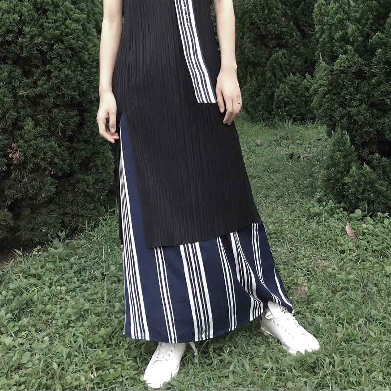 D'origine De Fourche Longue Miyake Long Gilet Noir Split Nombre Plissé Ouvert Robe Conception Designer Petit Pli thCoBQsrxd