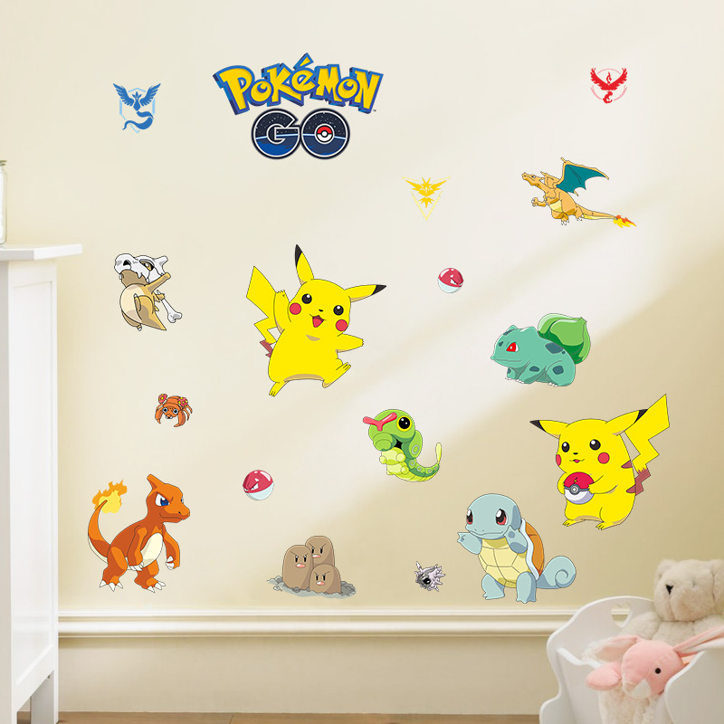 Pocket Monster Pokemon home decals wall sticker cute Pikachu Charmander Wartortle popular Game Cartoon wallpaper for kids room