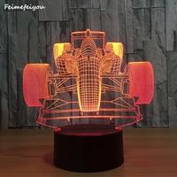 Feimefeiyou Racing Car 3D Skull Decor LED Night Light Color Change Bedside Nightlight Indoor Decoration Lighting