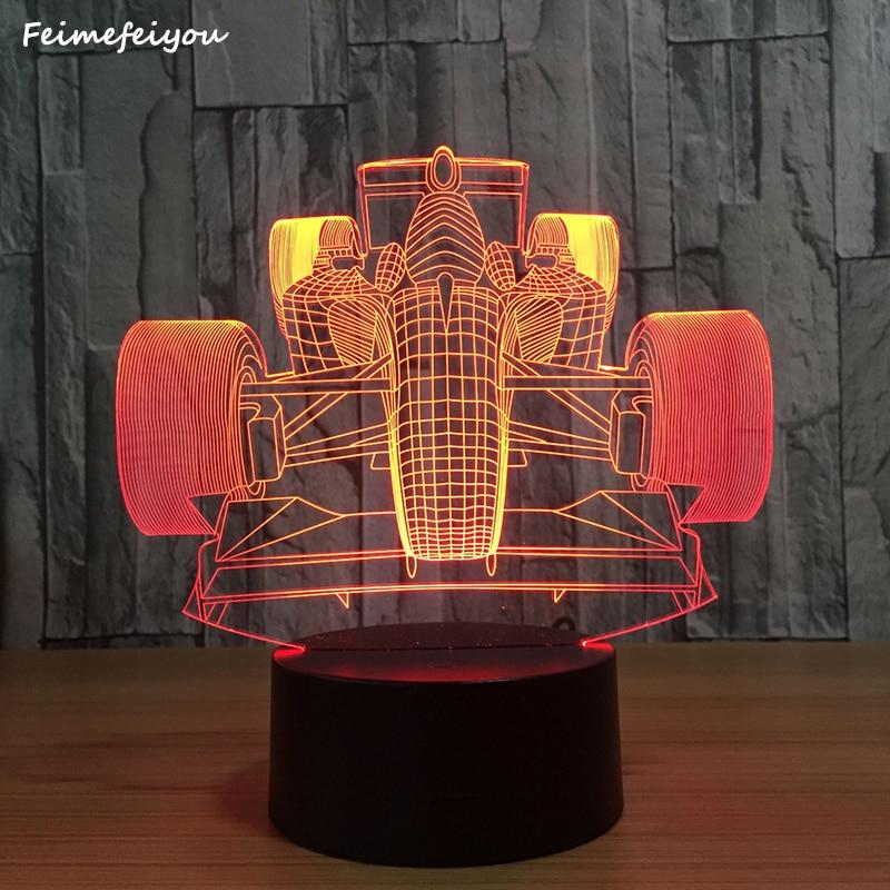 Feimefeiyou Racing car 3D Skull Decor LED Night Light Color Change Bedside Nightlight Indoor Decoration Lighting Best Gift
