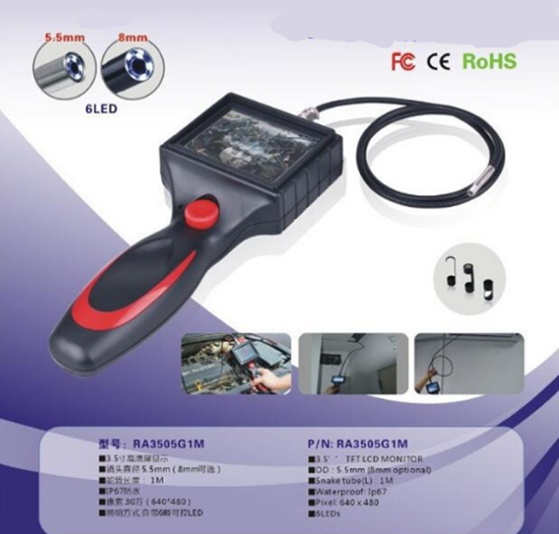3.5 Inch Water-Proof AV Handheld Endoscope 5.5mm/8.5mm Diameter Optional