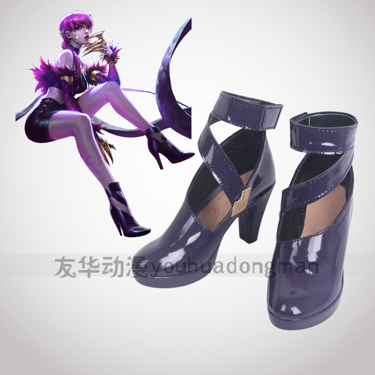 Game LOL WOMEN ROLE PLAY KDA Team Evelynn Cosplay Shoes Evelynn role play purple high heel shoes any size