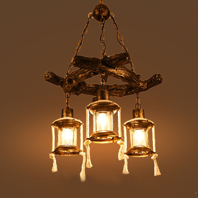 Chinese Style Retro Resin Chandeliers Bars Restaurants Tea Houses American Antique Wooden Free