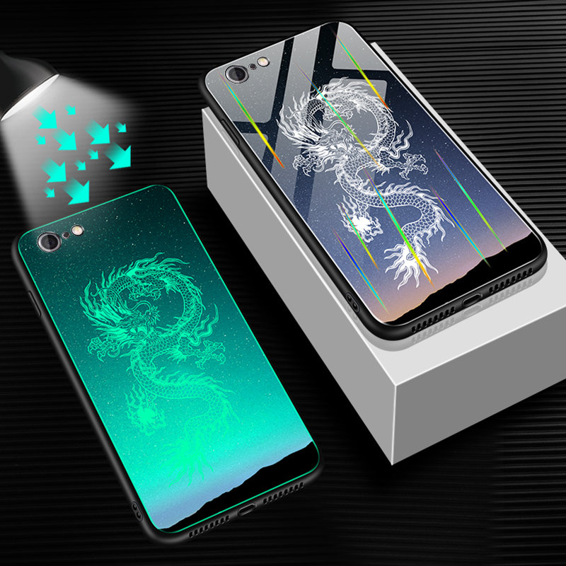 HTB1blXfUVzqK1RjSZFvq6AB7VXaE Luminous Tempered Glass Case For iPhone 5 5S SE 6 6S 7 8 Plus Case Back Cover For iPhone X XR XS 11 Pro Max Case Cover Cell Bag