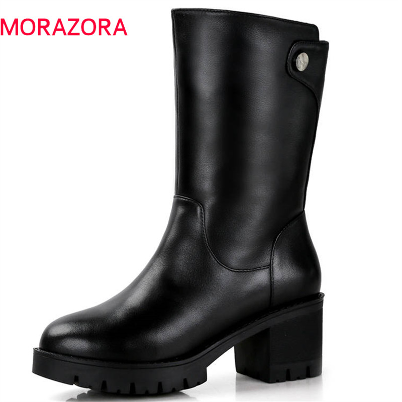 Image 2 - MORAZORA 2019 russia genuine leather natural wool boots round toe zip warm snow boots comfortable mid calf boots women shoes-in Mid-Calf Boots from Shoes