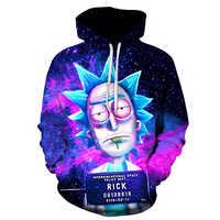 2018 nowe niestandardowe bluzy 3D Hip Hop mężczyźni/kobiety kapelusz zabawny nadruk Rick Morty szalony naukowiec zima luźna cienka bluza z kapturem topy