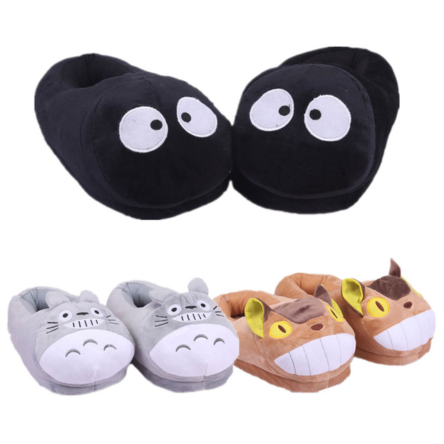 Miyazaki Hayao Anime Cartoon Totoro Cat Buss Fairydust Plush Shoes Home  Winter Slippers for Children Women Men 27cm