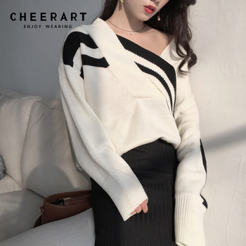 Cheerart V Neck Off Shoulder Sweater Women White Black Pullover Loose Batwing Knit Korea Sweater Oversized Jersey Tops