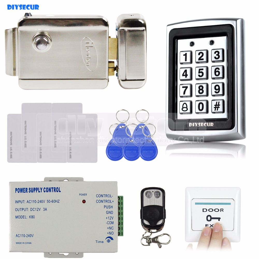 DIYSECUR Remote Control RFID Keypad Door Access Control Security System Kit + Electric Lock +  Power Supply  7612 diysecur rfid metal case keypad door access control security system kit electric bolt lock power supply 7612
