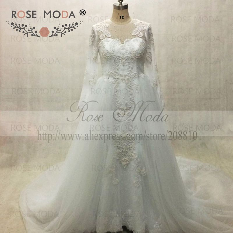Brilliant Long Sleeves Pearl Beaded Lace Mermaid Wedding Dress Med Avtagbar Tog Arabisk Designer Wedding Kjoler Real Photo