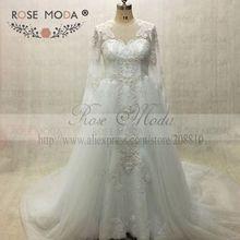 Brilliant Long Sleeves Pearl Beaded Lace Mermaid Wedding Dress with Detachable Train Arabic Designer Wedding Dresses Real Photo