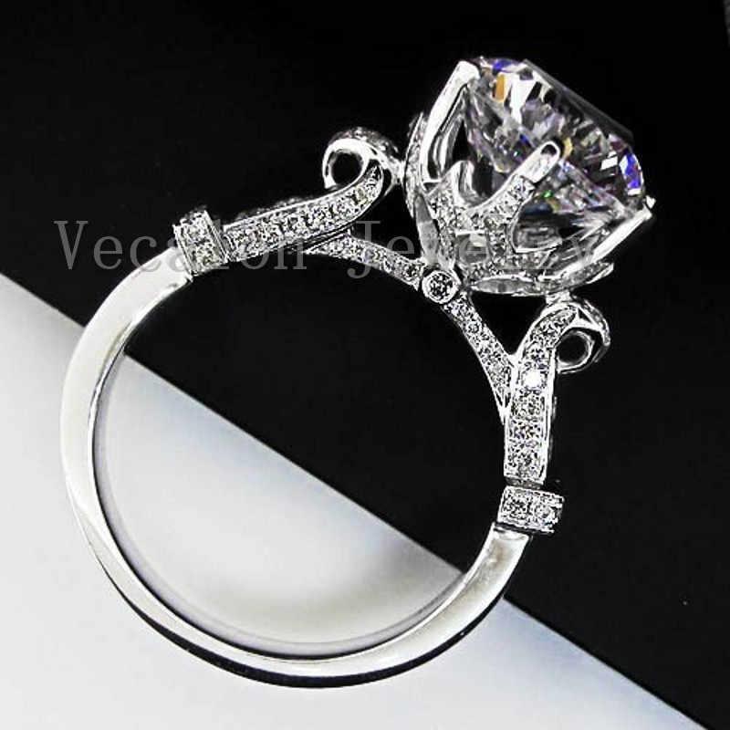 Vecalon moda coroa anel de casamento para mulher corte redondo 3ct aaaaa zircon cz 925 prata esterlina anel de banda de noivado feminino