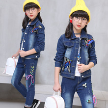 Children's wear cowboy suit 2018 spring and autumn new baby girl cartoon bird print denim coat+jeans body suit girl clothing set