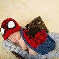 Bebé recién nacido Fotografía Fotografia Atrezzo Wrap Fotografias Spider-Man Traje apoyo de La Fotografía Del Ganchillo Sombrero Del Bebé Cap CL0714