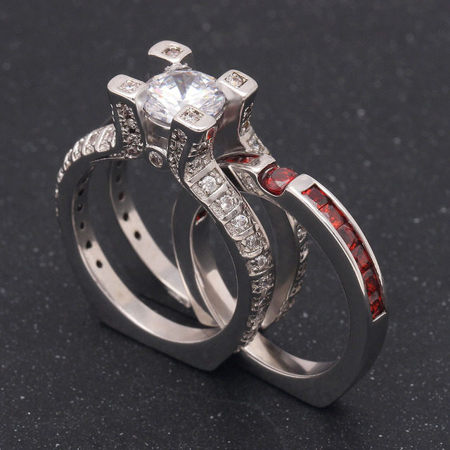 Luxury Female Green Red Ring Set Bridal Sets High Quality Gold