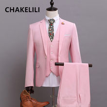 High-end Custom Made Wedding best man groomsman bride groom suit pink prom suit Tuxedos Men's Formal blazer jacket+vest+pants(China)