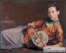لوحات زيتية صينية جميلة مرسومة باليد للسيدات لوحة بورتريه من القماش عالي الجودة للاستنساخ