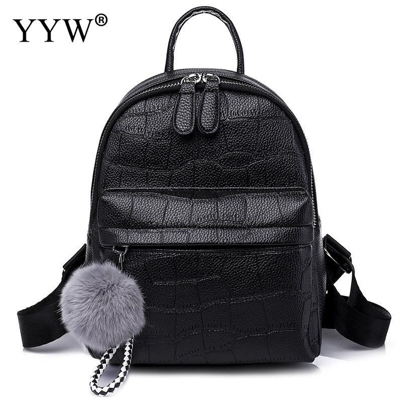 Black Women Backpack Pu Leather Small Travel Backpack Brand Solid White School Backpack For Girl Brand New Luxury Mochila Female