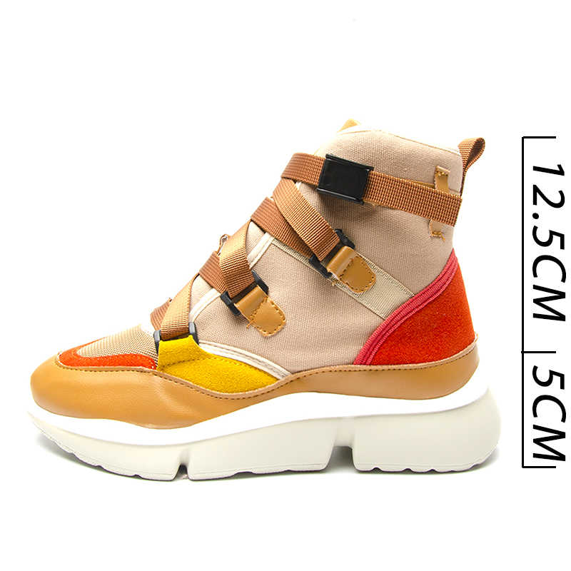 4ae27c35c ... Fujin Casual Shoes Women s Spring Autumn Sneakers Buckle Strap High Low  Top Lady Fashion Sneakers Platform ...