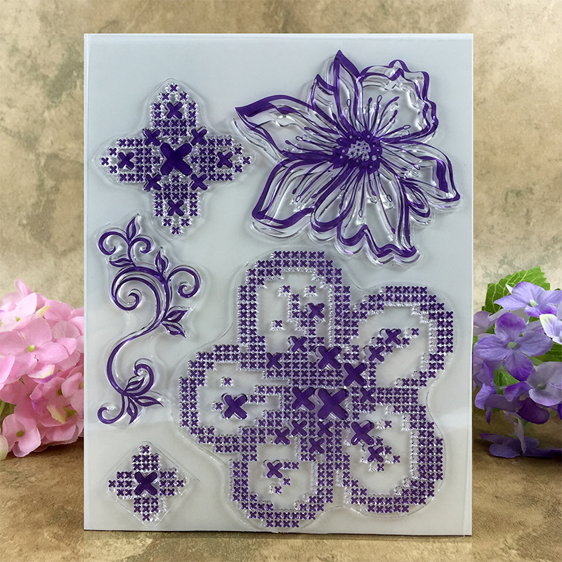 Colorful Cute Flowers item02 Scrapbook DIY photo cards account rubber stamp clear stamp transparent stamp  14*18 CM scrapbook diy photo cards account rubber stamp clear stamp finished transparent chapter wall decoration 15 18