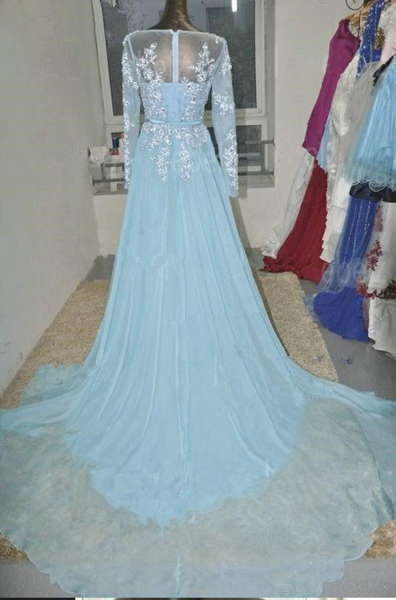 Real Pictures Prom Dresses 2018 Light Blue Long Sleeve Chiffon A ...