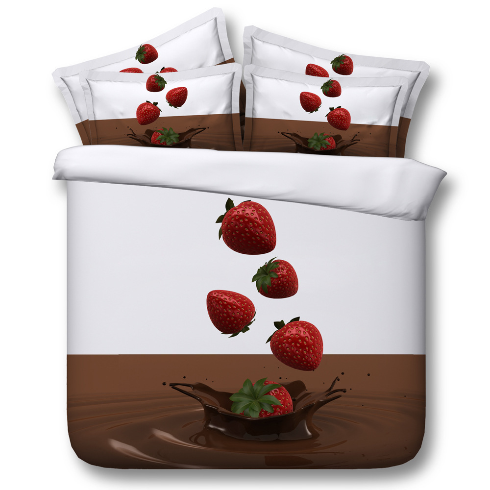 Chocolate strawberry Digital print Bedding Set  Quilt Cover  Design Bed Set Bohemian a Mini Van Bedclothes 3pcs JF158Chocolate strawberry Digital print Bedding Set  Quilt Cover  Design Bed Set Bohemian a Mini Van Bedclothes 3pcs JF158