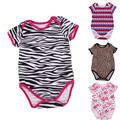 Bebe Baby Products Leopard Striped Vetements Bebe O-neck Short Sleeve Baby Costume Cotton Covered Botton Bebe Baby Products