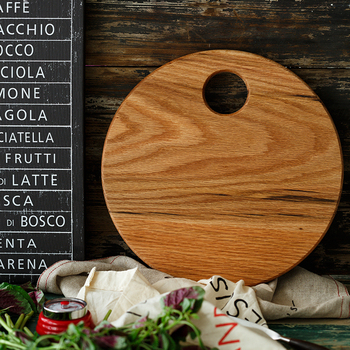 Bandeja original de madera de roble para picar con mango, Panel redondo ovalado con personalidad, tabla de picar doméstica antibacteriana