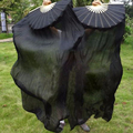 1.8 Meter single Black color dyed 100%  pure real Silk Fan Veils for Bellydancing Sexy Stage Performance Props silk long Fans