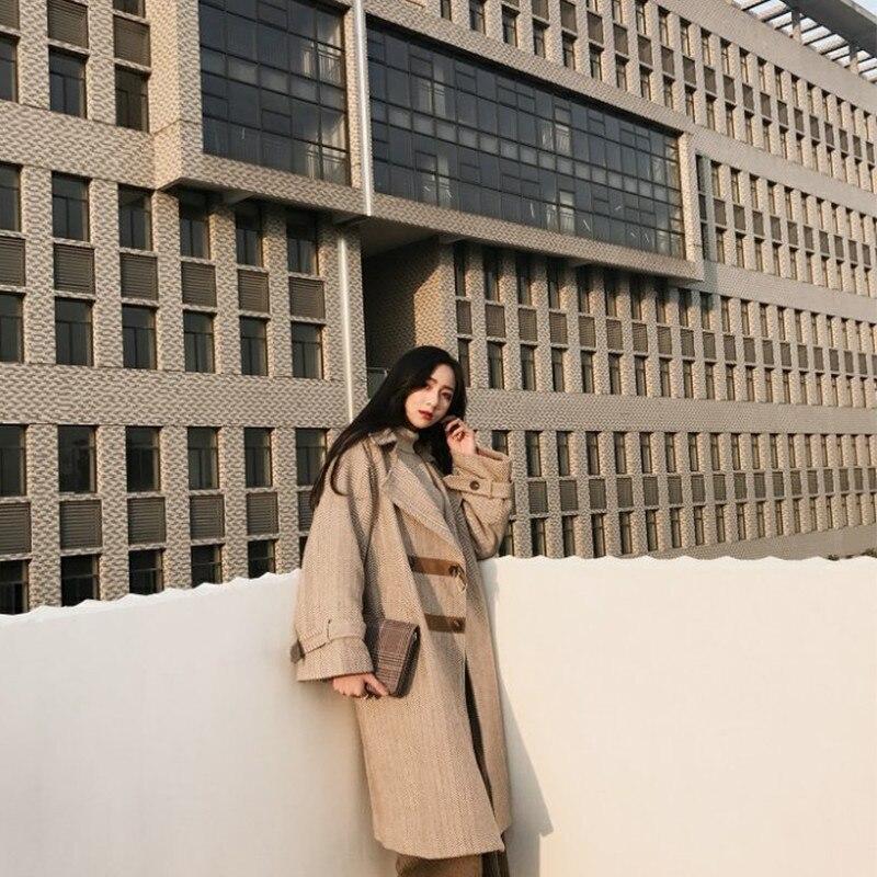 Longue De Manteau Femmes Genou No Section Coréenne Cardigan Cotton Lâche Harajuku Autumnwinter Bf Cotton Brown Chic Revers brown Version Sur X288 Laine Grand AL53Rj4