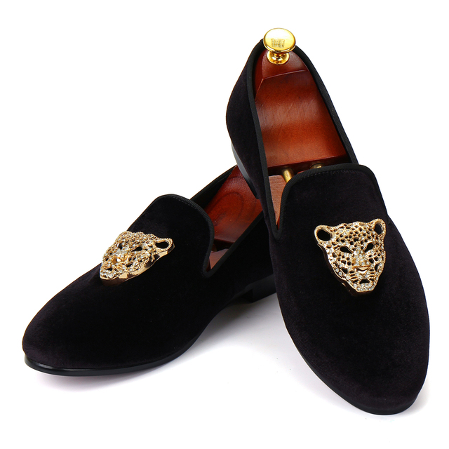 Harpelunde Men Velvet Loafer Shoes Animal Buckle Black Dress Shoes Size 6-14