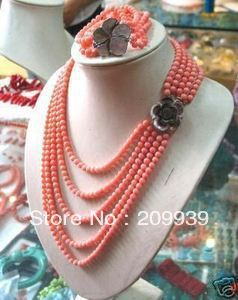 Natural stone 6mm PINK CORAL BEAD NECKLACE 17-20 BRACELET 7.5-7.8 SET Bells of buttons chic bells necklace