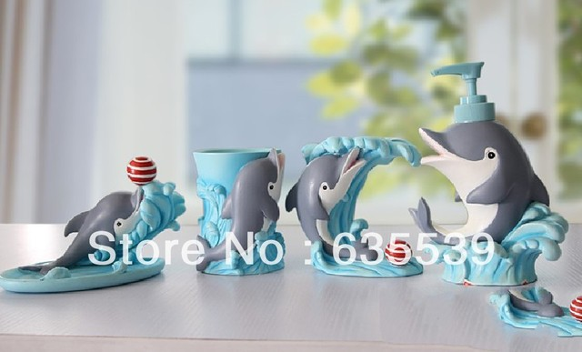 Superieur BATHROOM 4PC ACCESSORY SETS DECORATION 3D DOLPHIN SHELL GIFT Gargle Cup And  Tooth Holder SOAP DISH