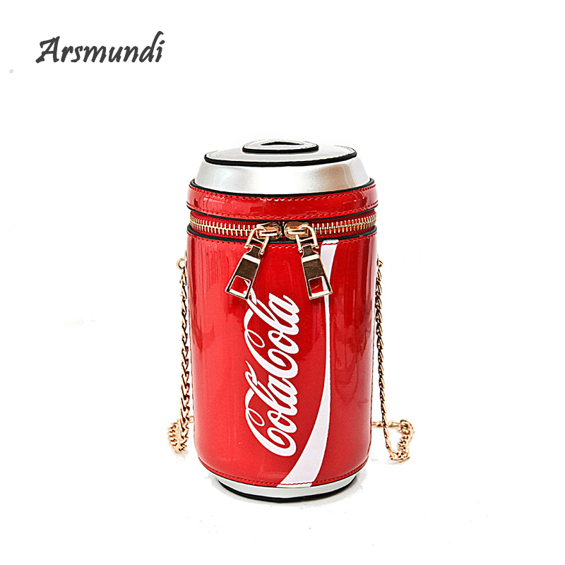 2018 Fashion Women Evening Bag Creative Funny Cola Bottles Shoulder Bag for Girls Crossbody Bags Personality Purse Messenger Bag