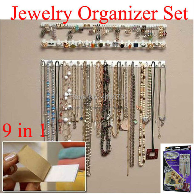 Hot Sale 9 in 1 Bling eez Adhesive hooks Jewelry Organizer jewelry
