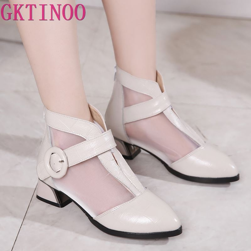 GKTINOO Women Sandals 2019 New Pointed Toes Mesh Ankle Boots Genuine Leather  Elegant Fashion Sandals Square Heel Shoes Sandals-in Middle Heels from Shoes    1