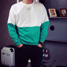 Patchwork Hoodies Male 2016 Spring Crewneck Sweatshirt Hedging Japanese Baseball Uniform Sweatshrt Cool Pullover Hoodies
