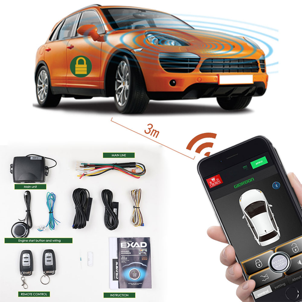 Auto SmartPhone Control Car Alarm Engine Starline Central Locking Starter Anti-Theft System Keyless Entry System PKE Start Stop