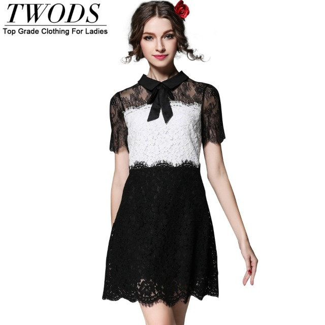 Twods S 5XL Cute Black & White Women Lace Dress Plus Size Short ...