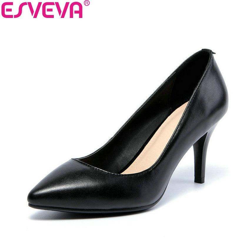 ESVEVA 2018 Slip on Cow Leather PU Women Pumps Shoes Dress Pumps Thin High Heels 5/8/10cm Pointed Toe Ladies Shoes Size 34-42 цена
