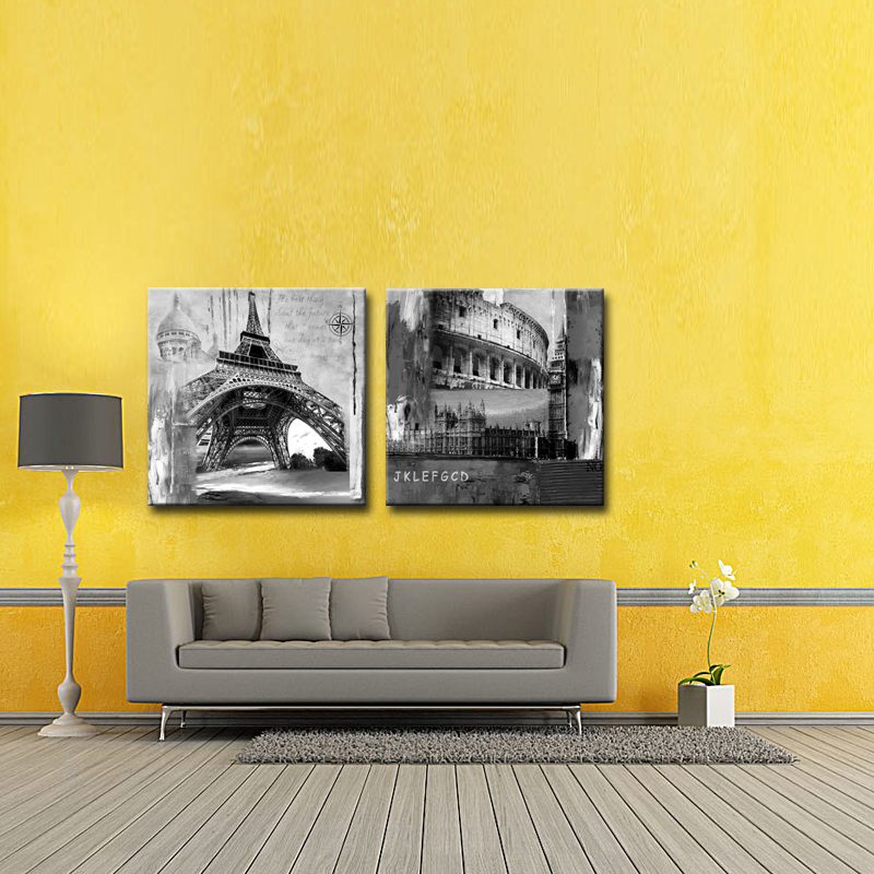 2 Picture Combination Wall Art Painting Eiffel Tower and Colosseum ...