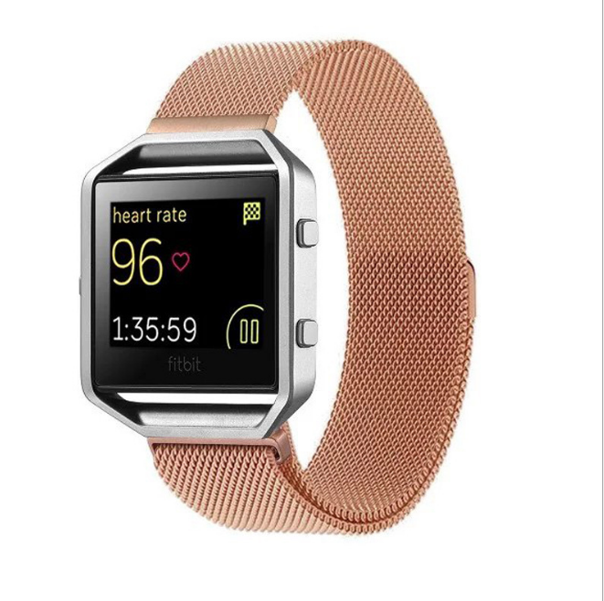 Stainless Steel Luxury Magnetic Loop Watch Band Wrist Strap for Fitbit Blaze Metal Bracelet Black Silver Rose Gold watchband stylish 29 led 3 color light digit stainless steel bracelet wrist watch black