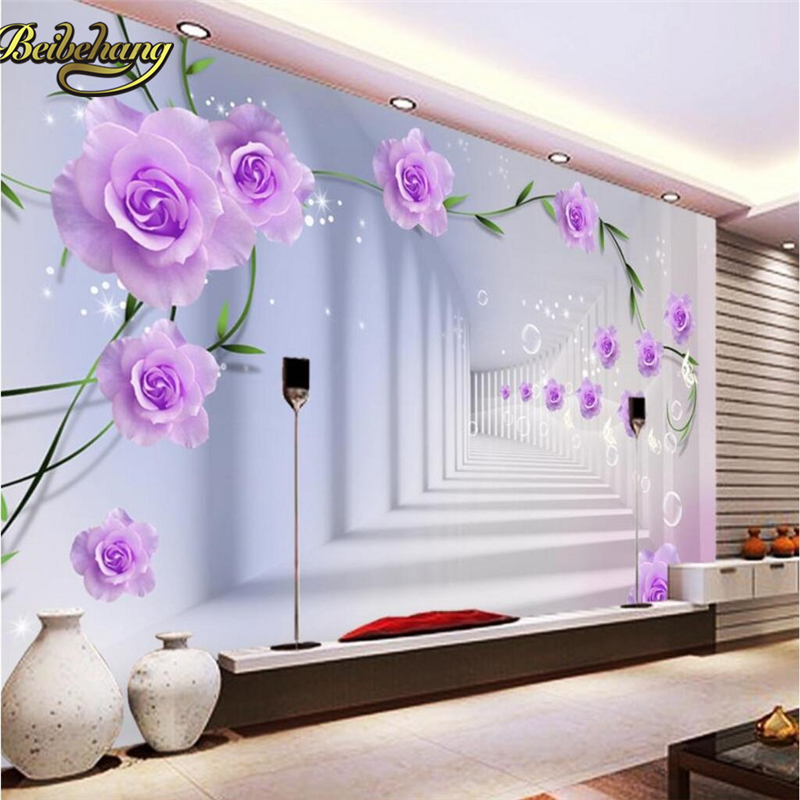 Beibehang Papel De Parede 3d Purple Roses Flowers Photo Mural Wallpaper Bedroom Background Wall Papers Home