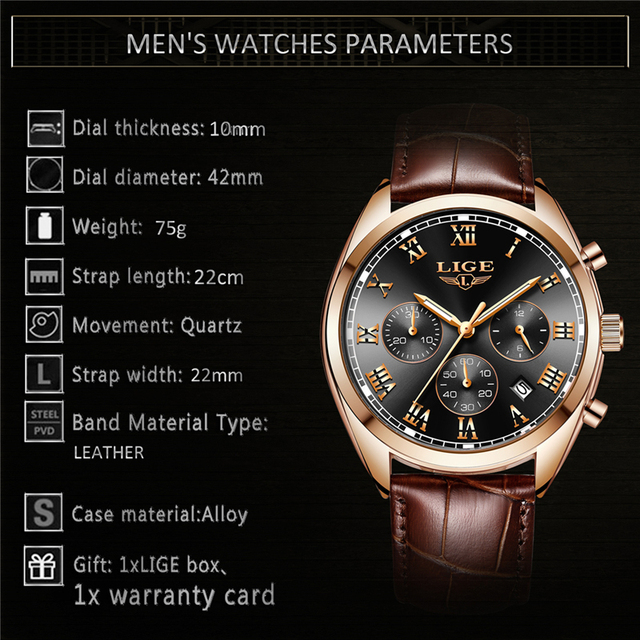 Luxury Waterproof 24 Hour Date Male Leather Relogio Masculino Sports Watch 5