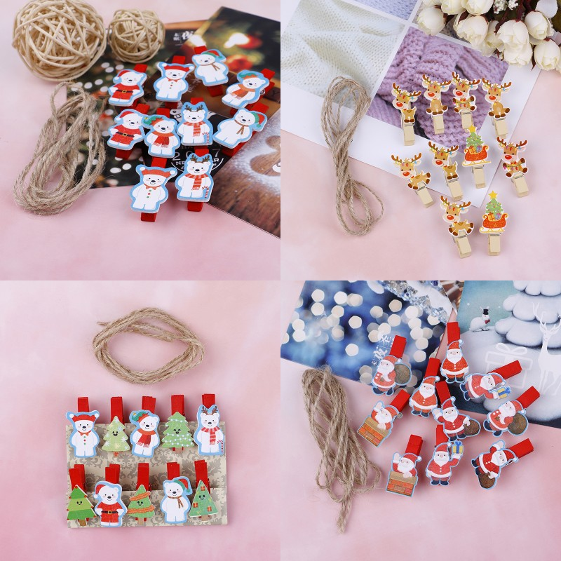 10Pcs/set Red Christmas Santa Claus Wood Clips Mini Wooden Clothes Photo Paper Peg Pin Clothespin Craft Clips With Rope