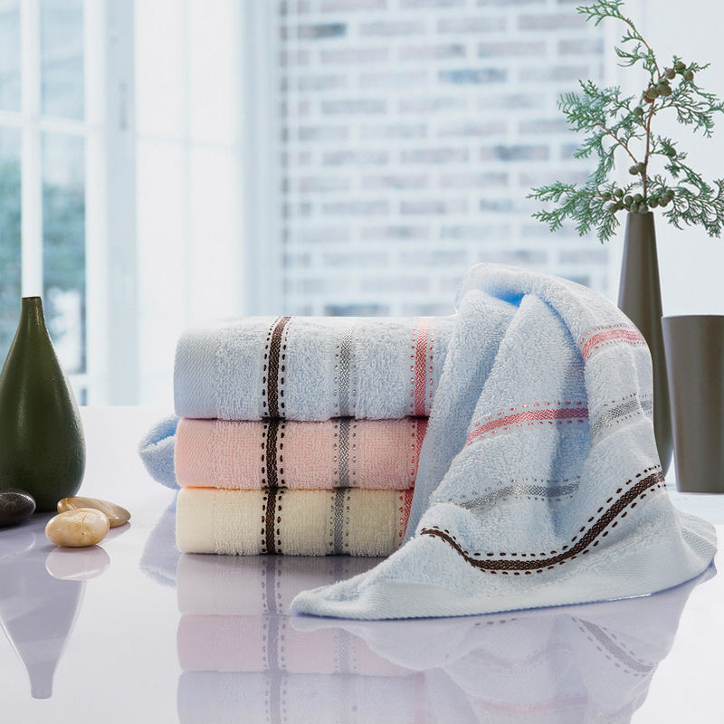 100% Cotton Weaving Towel Gray Pink Simple Striped Face Towel 1Pcs Size 33x73cm Kitchen Bathroom Use Quick-Dry Yarn Dyed Towels
