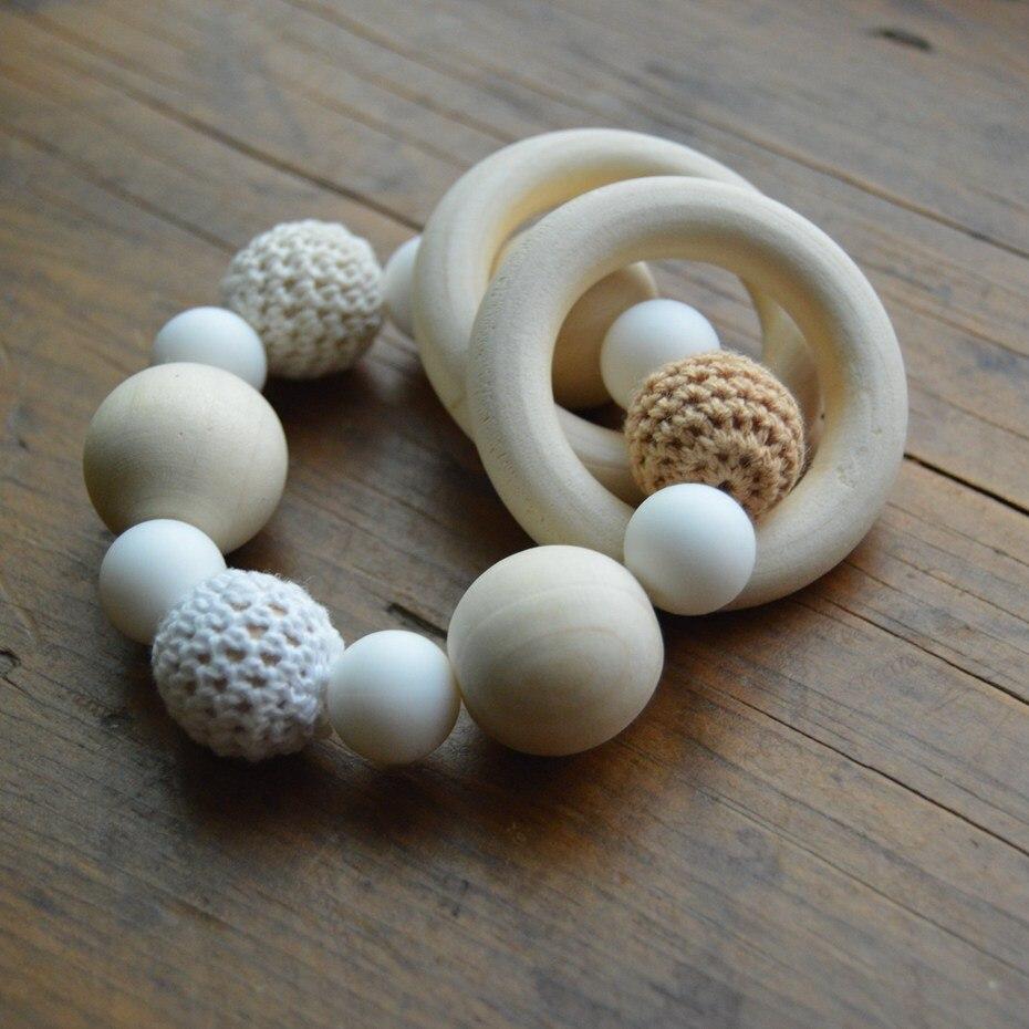 Baby Beißring Perlen Holzringe Set Schnuller und Beißringe DIY Halskette Armband