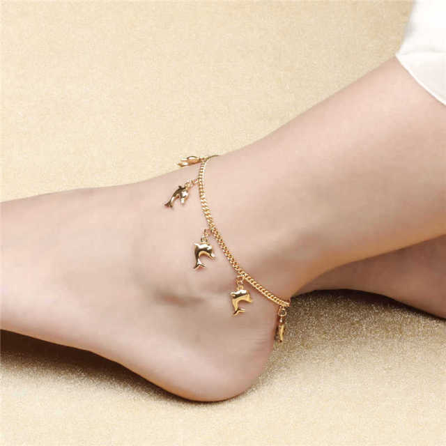 c3d55f43b Cute dolphin pendant anklet bracelet yellow gold filled fashion women girl  animal foot feet chain